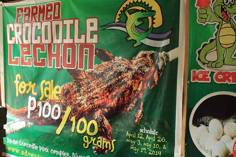 signage for roast crocodile, Davao Crocodile Farm