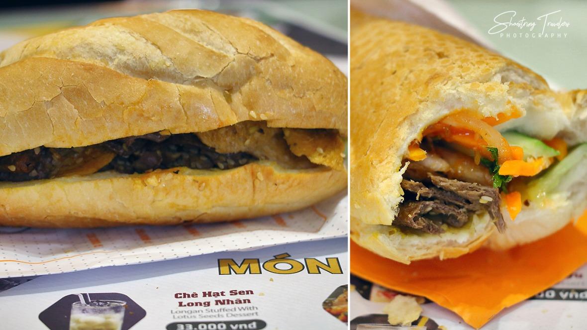 vegan bánh mi at a café near the Temple of Literature
